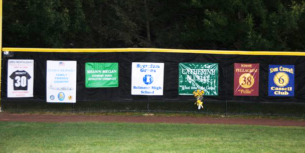 oldtime baseball game outfield banners